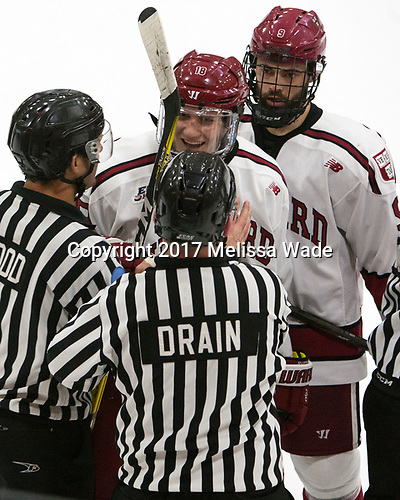 Adam Fox (Harvard - 18), Luke Esposito (Harvard - 9) - The Harvard University Crimson defeated the Yale University Bulldogs 6-4 in the opening game of their ECAC quarterfinal series on Friday, March 10, 2017, at Bright-Landry Hockey Center in Boston, Massachusetts.