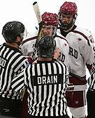 Adam Fox (Harvard - 18), Luke Esposito (Harvard - 9) - The Harvard University Crimson defeated the Yale University Bulldogs 6-4 in the opening game of their ECAC quarterfinal series on Friday, March 10, 2017, at Bright-Landry Hockey Center in Boston, Massachusetts.