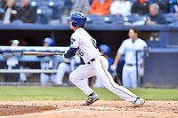 Asheville Tourists shortstop Terrin Vavra (6) swings at a pitch during a game against the Augusta GreenJackets at McCormick Field on April 5, 2019 in Asheville, North Carolina. The  Tourists defeated the GreenJackets 5-0. (Tony Farlow/Four Seam Images)