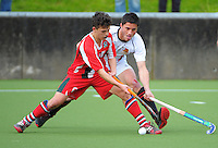 Action from the Rankin Cup boys hockey final match between  Westlake Boys' High School and Hamilton Boys' High School at National Hockey Stadium, Wellington, New Zealand on Friday, 6 September 2013. Photo: Dave Lintott / lintottphoto.co.nz