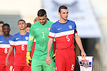 20 May 2014: USA Under-20's Connor Donovan (5) leads USA Under-20's Evan Loura (1) and the rest of his teammates onto the field. The Under-20 United States Men's National Team played a scrimmage against a team composed of players from the Carolina RailHawks and the Capital Area RailHawks Academy Under-18 squad WakeMed Stadium in Cary, North Carolina. The combined RailHawks team won the game 2-1.