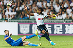 Tottenham Hotspur midfielder Kaaiah Sterling (R) fights for the ball with SC Kitchee Defender Helio de Souza (L) during the Friendly match between Kitchee SC and Tottenham Hotspur FC at Hong Kong Stadium on May 26, 2017 in So Kon Po, Hong Kong. (Photo by Tottenham Hotspur FC/Tottenham Hotspur FC via Getty Images)