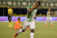 BARRANCABERMEJA -COLOMBIA, 11-03-2017:  Cristian Dajome (Izq) jugador de Atlético Nacional celebra un gol anotado a Alianza Petrolera durante partido fecha 9 de la Liga Aguila I 2017 disputado en el estadio Daniel Villa Zapata de la ciudad de Barrancabermeja. / Cristian Dajome (L) player of Atlético Nacional celebrates a goal scored to Alianza Petrolera during match for the date 9 of the Aguila League I 2017 played at Daniel Villa Zapata stadium in Barrancebermeja city. Photo: VizzorImage / Jose Martinez / Cont