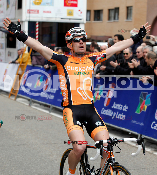 Pablo Urtasun (Euskaltel Euskadi team) wins the first stage of the Castilla and Leon 2013 Cycling Tour. The first stage of the 28th tour took place from Arevalo (Avila) to Valladolid. April 12, 2013. Valladolid, Spain. (Alterphotos/Victor J Blanco) /NortePhoto
