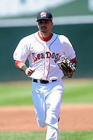 Carlos Asuaje (5) of the Portland Sea Dogs during a game versus the Reading Fightin Phils at Hadlock Field in Portland, Maine on May 24, 2015.  (Ken Babbitt/Four Seam Images)