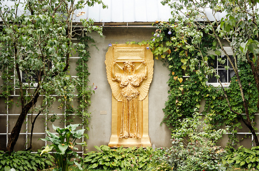 Golden relief of female angel in garden setting, New Gallery atrium, Saint-Gaudens National Historic Site, Cornish, Sullivan County, New Hampshire, USA