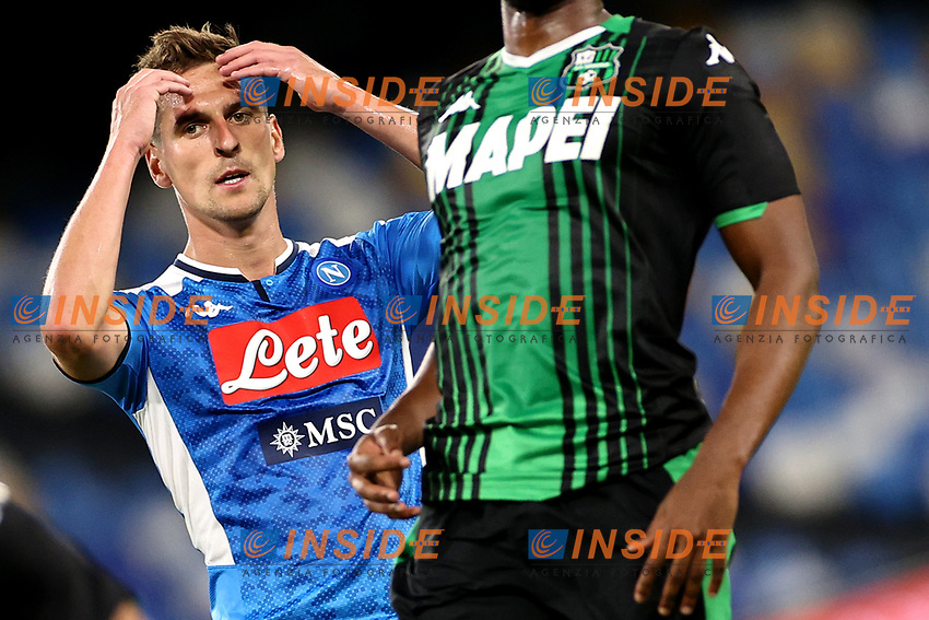 Arkadiusz Milik of SSC Napoli reacts during the Serie A football match between SSC Napoli and US Sassuolo at stadio San Paolo in Napoli ( Italy ), July 25th, 2020. Play resumes behind closed doors following the outbreak of the coronavirus disease. <br /> Photo Cesare Purini / Insidefoto