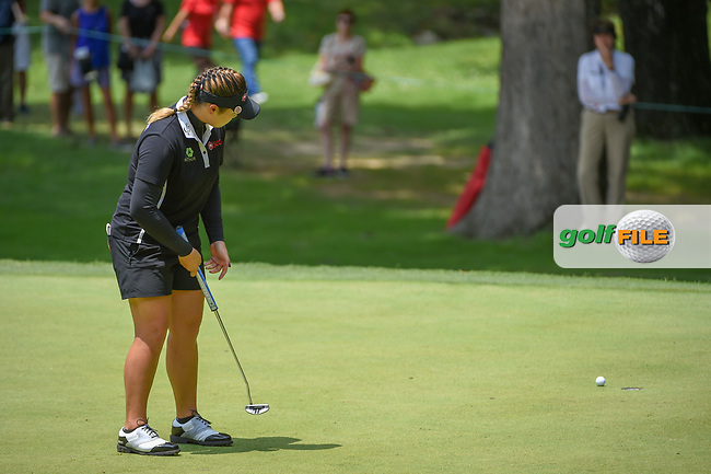 Ariya Jutanugarn (THA) barely misses her putt on 2 during round 4 of the U.S. Women's Open Championship, Shoal Creek Country Club, at Birmingham, Alabama, USA. 6/3/2018.<br /> Picture: Golffile | Ken Murray<br /> <br /> All photo usage must carry mandatory copyright credit (© Golffile | Ken Murray)