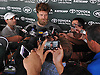 Ryan Fitzpatrick #14, New York Jets starting quarterback, speaks with the media after a day of team training camp at Atlantic Health Jets Training Center in Florham Park, NJ on Tuesday, Aug. 2, 2016.