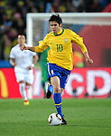 Kaka in action during the 2010 FIFA World Cup South Africa Round of Sixteen match between Brazil and Chile at Ellis Park Stadium on June 28, 2010 in Johannesburg, South Africa.