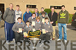NIGHT: Launching the CBS The Green Greyhound Night at the Green School on nFriday morning were members of the Kerry Team and students. L-r: Wayne Enright, Niall Drumm, Patrick Egan, Jordan Carey, Aki O'Rourke and Donal Moynihan. Back l-r: Michea?l Quirke, Tommy Walsh, Barry John Walsh, Tony O'Keeffe (Principal), Marc O Se?, Declan , and David Moran..