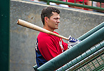 12 March 2014: Washington Nationals infielder Jamey Carroll stands in the dugout prior to a Spring Training game against the Houston Astros at Osceola County Stadium in Kissimmee, Florida. The Astros rallied in the bottom of the 9th to edge out the Nationals 10-9 in Grapefruit League play. Mandatory Credit: Ed Wolfstein Photo *** RAW (NEF) Image File Available ***
