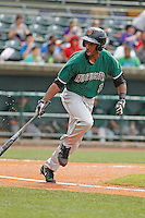 Augusta GreenJackets infielder Travious Relaford (1) at bat during a game against the Charleston Riverdogs at Joseph P.Riley Jr. Ballpark on April 15, 2015 in Charleston, South Carolina. Charleston defeated Augusta 8-0. (Robert Gurganus/Four Seam Images)