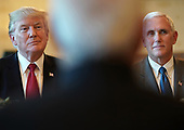 United States President Donald Trump (L) and Vice President Mike Pence (R) listen as Indian Prime Minister Narendra Modi (C) offers remarks before dinner at the White House June 26, 2017 in Washington, DC. Trump and Modi met earlier today in the Oval Office to discuss a range of bilateral issues. <br /> Credit: Win McNamee / Pool via CNP