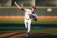 Elon Phoenix starting pitcher George Kirby (13) delivers a pitch to the plate against the Quinnipiac Bobcats at David F. Couch Ballpark on February 24, 2019 in  Winston-Salem, North Carolina. (Brian Westerholt/Four Seam Images)