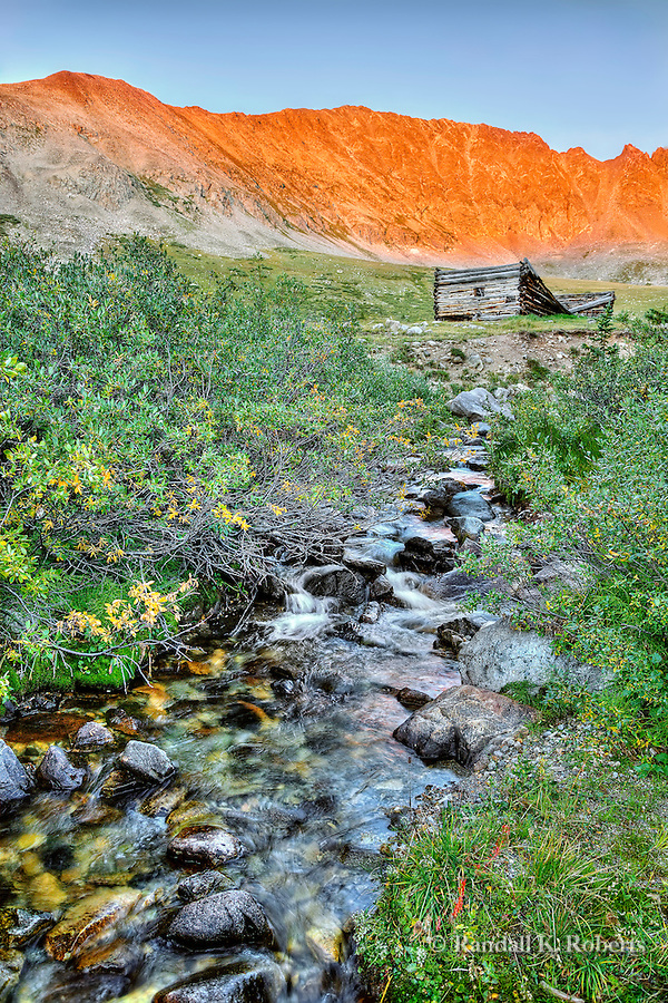 Sunset on Fletcher Mountain and the Boston Mine ruins, Mayflower Gulch, Colorado