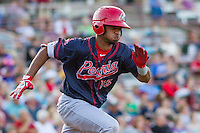 Peoria Chiefs infielder Eliezer Alvarez (15) races to first base during a Midwest League game against the Wisconsin Timber Rattlers on July 9, 2016 at Fox Cities Stadium in Appleton, Wisconsin. Peoria defeated Wisconsin 3-2. (Brad Krause/Four Seam Images)