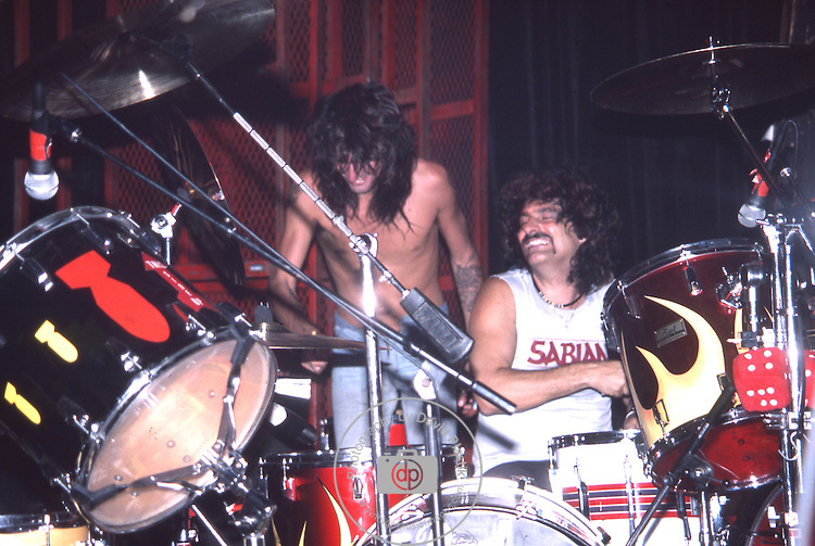 Tommy Lee & Carmine Appice at The Roxy in Hollywood Aug 1986.