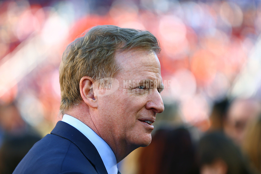 Feb 7, 2016; Santa Clara, CA, USA; NFL commissioner Roger Goodell prior to the Carolina Panthers against the Denver Broncos in Super Bowl 50 at Levi's Stadium. Mandatory Credit: Mark J. Rebilas-USA TODAY Sports