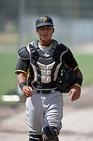 Pittsburgh Pirates catcher Reggie Cerda (30) before an Instructional League intersquad scrimmage on September 29, 2014 at the Pirate City in Bradenton, Florida.  (Mike Janes/Four Seam Images)