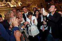 Roberto Giachetti, Monica Cirinna' e Maria Elena Boschi con i rappresentanti della comunità' LGBT <br /> Roma 11-05-2016. Fontana di Trevi. Festeggiamenti per l'approvazione del DDL sulle Unioni Civili. Per l'occasione la Fontana di Trevi e' stata illuminata con i colori arcobaleno, simbolo della comunità' LGBT.<br /> Rome 11th May 2016. Trevi Fountain. Celebration for the approval of the Law on Civil Unions. For the occasion, Trevi Fountain has been lighted with the rainbow colors of the LGBT flag.<br /> Photo Samantha Zucchi Insidefoto