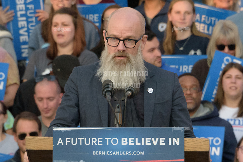 Michael Stipe, bearded song writer, at the Bernie Sanders Rally New Haven CT on 24 April 2016
