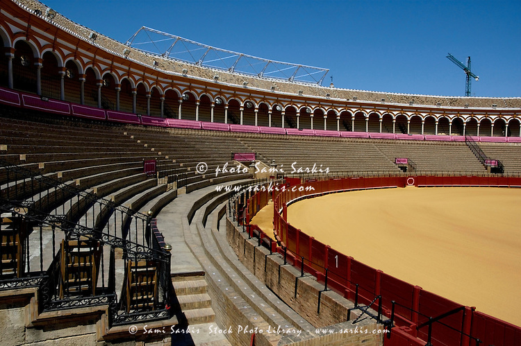 Empty seating at the Plaza de Toros de la Real Maestranza de Caballeria de Sevilla, Spain's oldest bullring arena, Seville, Andalusia, Spain.