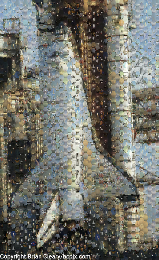 Space Shuttle Discovery on the launch pad.  Mosaic created from hundreds of Space Shuttle photos from the files of Floirda-based Freelance photographer Brian Cleary.(Photo by Brian Cleary/www.bcpix.com)