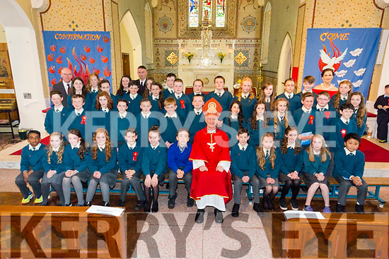 The pupils from Nagle/Rice NS Milltown with Bishop Ray Browne and Principal Liam Fell at their Confirmation in Milltown on Tuesday