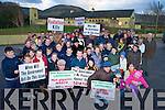 Parents and children who protested against the proposed building of a mobile phone mast within the one kilometre radius of Glenbeigh National School on Friday...