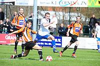 VOETBAL: URK: Sportpark 'de Vormt', SV Urk - Drachtster Boys, 14-04-2012, Zaterdag Hoofdklasse C, Jan van Slooten (#16 Urk), Said Hassan (#6 DB) aan de bal, Eindstand 2-3, ©foto Martin de Jong
