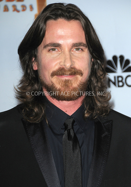 WWW.ACEPIXS.COM . . . . . ....January 16 2011, Los Angeles....Actor Christian Bale with his award for Best Performance by an Actor In A Supporting Role in a Motion Picture for 'The Fighter' at the 68th Annual Golden Globe Awards held at The Beverly Hilton hotel on January 16, 2011 in Beverly Hills, CA....Please byline: PETER WEST - ACEPIXS.COM....Ace Pictures, Inc:  ..(212) 243-8787 or (646) 679 0430..e-mail: picturedesk@acepixs.com..web: http://www.acepixs.com