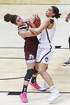DALLAS, TX - MARCH 31: Dominique Dillingham #00 of the Mississippi State Lady Bulldogs and Gabby Williams #15 of the Connecticut Huskies tie up for a loose ball during the 2017 Women's Final Four at American Airlines Center on March 31, 2017 in Dallas, Texas. (Photo by Tim Nwachukwu/NCAA Photos via Getty Images)