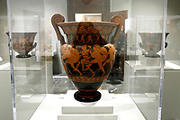 Earthenware artefacts, by the ceramist master Eufronio, V-IV century BC, stolen from Cerveteri, Italy and found in 1990 in America<br /> Rome May 3rd 2019. Quirinale Palace. Preview of the exhibition 'The art of rescuing art' , a collection of antique artworks, paintings, statues, jewelry and terracotta artefacts rescued from the command of Carabinieri for the protection of the cultural heritage in 50 years.  Many of these artworks were stolen on commission for private collections.<br /> Photo di Samantha Zucchi/Insidefoto