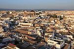 Oblique raised angle view of historic city centre buildings, Cordoba, Spain