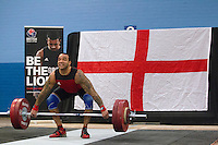 23 FEB 2014 - SMETHWICK, GBR - Bradley Burrowes attempts a lift during the Men's 85kg category round at the 2014 English Weightlifting Championships at the Harry Mitchell Leisure Centre in Smethwick, Great Britain. Burrowes' final total of 295kg makes him eligible for selection for the England weightlifting team for the 2014 Commonwealth Games   (PHOTO COPYRIGHT © 2014 NIGEL FARROW, ALL RIGHTS RESERVED)