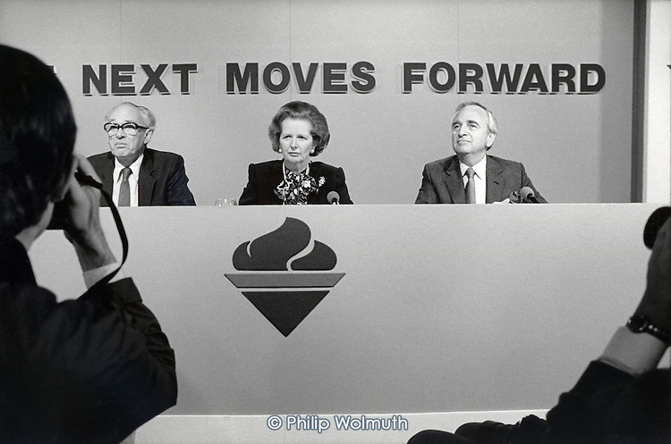Nicholas Ridley, Margaret Thatcher and Lord Young, Conservative Party pre-election press conference.
