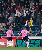 Marc Richards of Northampton Town runs to the supporters to celebrate scoring his goal during the Sky Bet League 2 match between Wycombe Wanderers and Northampton Town at Adams Park, High Wycombe, England on 3 October 2015. Photo by Andy Rowland.