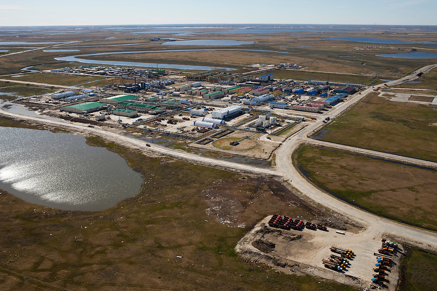Bovanenkovo ,Yamal Peninsula, Russia, 10/07/2010..An aerial view of the central base of the Gazprom Yamal Bovanenkovo gasfield project.
