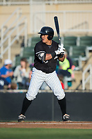 Everth Cabrera (39) of the Kannapolis Intimidators at bat against the Asheville Tourists at Kannapolis Intimidators Stadium on May 6, 2017 in Kannapolis, North Carolina.  The Intimidators walked-off the Tourists 7-6.  (Brian Westerholt/Four Seam Images)