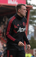 Manchester United's Phil Jones during pre-match warm up<br /> <br /> <br /> Photographer David Horton/CameraSport<br /> <br /> The Premier League - Bournemouth v Manchester United - Saturday 3rd November 2018 - Vitality Stadium - Bournemouth<br /> <br /> World Copyright &copy; 2018 CameraSport. All rights reserved. 43 Linden Ave. Countesthorpe. Leicester. England. LE8 5PG - Tel: +44 (0) 116 277 4147 - admin@camerasport.com - www.camerasport.com