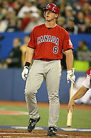 March 7, 2009:  Left fielder Nick Weglarz (8) of Canada during the first round of the World Baseball Classic at the Rogers Centre in Toronto, Ontario, Canada.  Team USA defeated Canada 6-5 in both teams opening game of the tournament.  Photo by:  Mike Janes/Four Seam Images