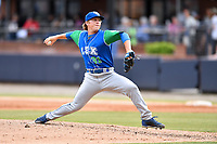 Lexington Legends pitcher Tyler Zuber (31) delivers a pitch during a game against the Asheville Tourists at McCormick Field on May 25, 2018 in Asheville, North Carolina. The Tourists defeated the Legends 6-4. (Tony Farlow/Four Seam Images)