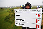 1st October 2017, Windross Farm, Auckland, New Zealand; LPGA McKayson NZ Womens Open, final round;  The leader board on the 1st tee