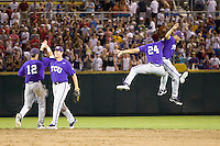 TCU wins 2868.jpg against Florida State at the College World Series on June 23rd, 2010 at Rosenblatt Stadium in Omaha, Nebraska.  (Photo by Andrew Woolley / Four Seam Images)