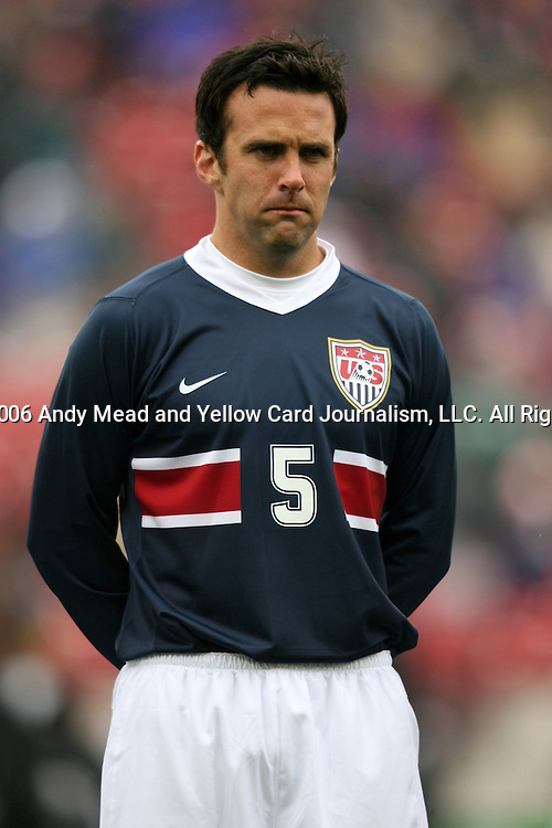 Kerry Zavagnin, of the United States, as the U.S. debuts their new uniforms on Sunday, February 19th, 2005 at Pizza Hut Park in Frisco, Texas. The United States Men's National Team defeated Guatemala 4-0 in a men's international friendly.