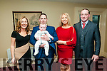 Baby James Flavin with his parents Timmy Flavin & Mary Holland and god parents Deidre McGowasn & John O'Carroll who was christened in St Mary's Church, Listowel by Canon Declan O'Connor on Saturday last and afterwards at the Listowel Arms Hotel.