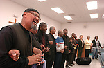 """The Gazette. Louis Blake of Upper Marlboro leads the congregation of the Union Bethel Intergenerational Center in """"We Shall Overcome"""" to end the 2007 Martin Luther King, Jr. Gospel Brunch in Temple Hills on Saturday afternoon."""