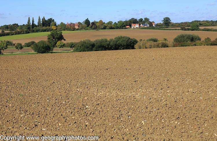 Rural early autumn landscape harrowed fields Monewden, Suffolk, England, UK