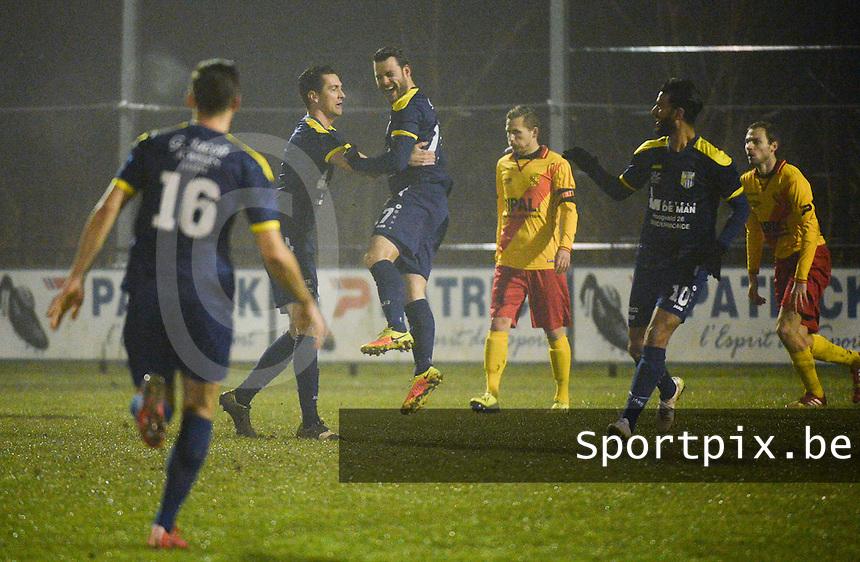 Eendracht Wervik - FC Lebbeke :<br /> spelers van Lebbeke vieren hun vroege openingsgoal<br /> Foto VDB / Bart Vandenbroucke